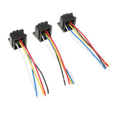 3x Prewireds Car Automotive 12V/24V 40A 5 Pin Relay Socket Harness Holders