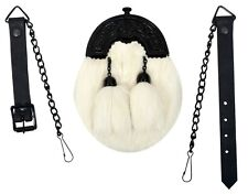 CHILDREN BOY WHITE RABBIT FUR FULL DRESS SPORRAN BLACK FINISH CANTLE 2 TASSELS