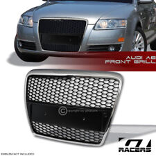 2005-2007 AUDI A6 CHROME/BLK RS-SPORT HONEY MESH FRONT BUMPER GRILL GRILLE COVER
