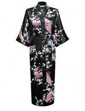 Women Lady High Quality Long Peacock Bride Kimono Robe satin Night dress .Gown.