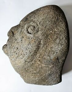 Folk Art Hand Carved Stone Carving of a Head