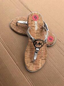 Michael Kors Silver MK Logo Charm Jelly Cork Flip Flop Sandals Size CHOOSE