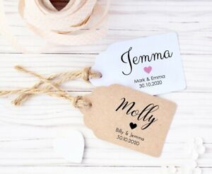 Rustic Personalised Wedding Place Name Card Tags - 3  Card Colours and Sizes