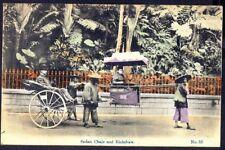 SEDAN CHAIR & RICKSHAW, Hong Kong. Vintage Postcard. Free UK Postage