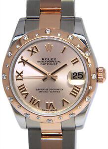 Rolex Datejust SS/18k Rose Gold Diamond Bezel Pink Dial 31mm Watch B/P V 178341