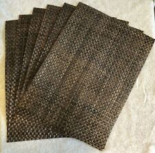 Set of 6 Brown Woven Plastic Placemats, 18 x 13