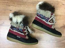 TECNICA Apres Snow Boots Goat Hair & Suede Leather Fringe Women's US 8 EUR 39