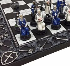 """Medieval Times Crusades Blue & White Armored Maltese Knights Chess Set 17"""" Board"""