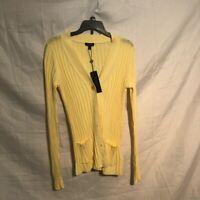 Talbots Womens Cardigan Sweater Yellow Long Sleeve V Neck Pockets Ribbed S New