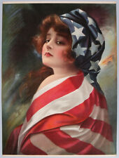 Rare 1916 Patriotic WWI Original James Ross Bryson Lrg Vintage Pin-Up Print NR