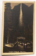 Vintage Camp Curry's Fire Fall Yosemite California RPPC Postcard AZO stamp box