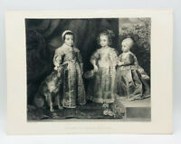 Antique Rare Children of Charles The First Engraved Etching Van  Dyck 1870