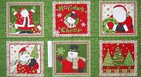 "Christmas Fabric - Debbie Mumm Ho Ho Holiday Snowman Santa - SSI 23"" Panel"
