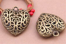 PJ520 4pcs Antique Bronze heart Pendant Bead Charms Accessories wholesale