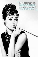 24x36 Audrey Hepburn Nothing Is Impossible Art Print  Poster shrink wrapped