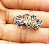 925 Sterling Silver - Vintage Wire Filigree Butterfly Design Brooch Pin - BP3638