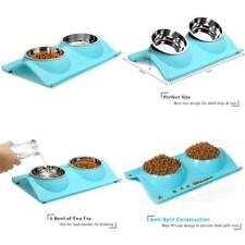 Upsky Double Dog Cat Bowls Premium Stainless Steel Pet Bowls No-Spill Resin Stat