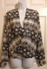 NEW YORK & CO Beige, Black Sheer Wrap Blouse Top Shirt XL XLARGE Career Casual