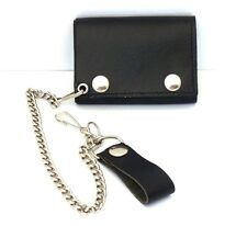 Black Trifold Chain Wallet Genuine Leather Biker Trucker ID Card Holder USA Made