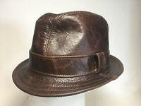 Jill Corbett Fedora Snatch hat cracked brown leather Handmade S/M/L/XL/XXL/XXXL
