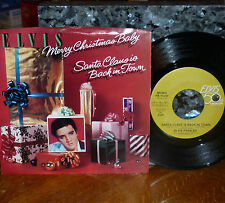 """*<* CLASSIC 1985 ELVIS """"MERRY CHRISTMAS BABY"""" CLEAN M- COMMEM 45/PICTURE SLEEVE!"""