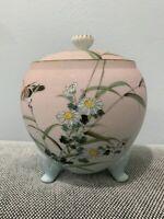 Antique Japanese Signed Likely Kutani Tapestry Porcelain Jar Birds & Floral Dec.