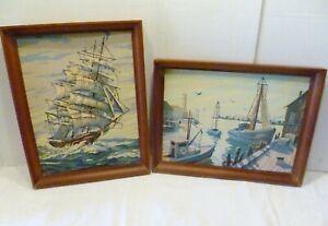 "PAIR 16"" X 12"" Vintage DANISH Art Modern PICTURE FRAMES Nautical PBN PAINTINGS"