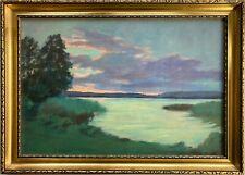 Ölbild Impressionist Abendsonne über dem See Natur Bilderrahmen Antikgold