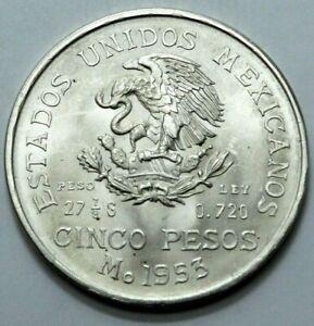 1953 UNC Mo Mexico Ano De Hidalgo Cinco 5 Pesos Ley.720 Silver Large Crown Coin.