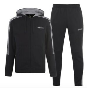 Adidas 3 Stripe Herren Trainingsanzug Tracksuit Jogginganzug Schwarz Grau