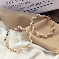 Statement Round Circle Earrings Pearl Women Ear Hoop Dangle Drop Fashion Jewelry