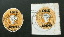 India-2 X 1 Anna Victoria Postal Stationary Cut Outs