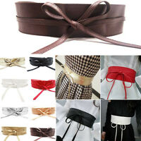 Top Selling Women Soft Leather Wide Self Tie Wrap Around Waist Band Dress Belt