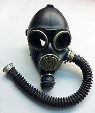 soviet russian black Gas mask GP-7 size 3 LARGE with black gas mask hose tube