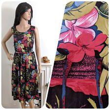 Vintage 70s 80s Tropical Beach Floral Belted Sun Dress Boho Midi 50s 12 14 40 42