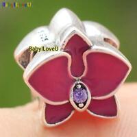 925 Sterling Silver Cerise Orchid Enamel Purple CZ Charm Bead Fit Bracelet Chain