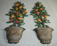 Vintage Homco 7151 Potted Lemon Tree Plant Wall Hanging Lot of 2