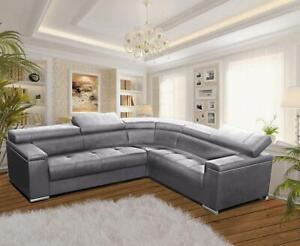 Corner Sofa Bed SILVA 1 with Storage Fabric Leather Suede Imitation 4 Colours