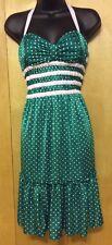 BETSEY JOHNSON SZ S DRESS Halter GREEN & WHITE Polka Dot PIN-UP Rockabilly RETRO