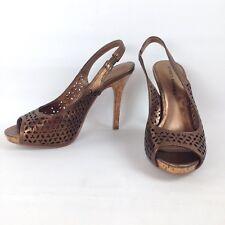 922e9b0d80c Audrey Brooke Women s Metallic Leather Slingback Open Toe Heels Pump Cutout  ...