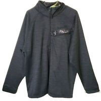 Huntworth Pullover Mens Gray Camo Trim Zip Pocket Fleece Lined Size XL