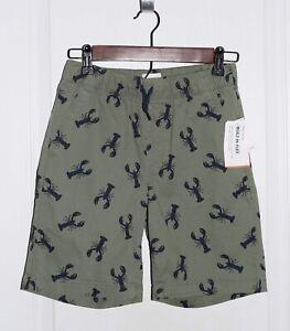 Old Navy Army Green Cotton Shorts w/Lobster Print Elastic Waist Boys L 10/12 NWT