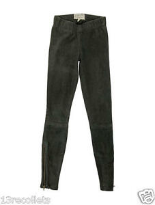 Current Elliott Suede Lamb Leather Slim Pants Leggings Pull Up Zip Ankle 26 $895