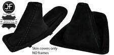 BLACK STITCHING MANUAL SUEDE SHIFT & E BRAKE BOOT SET FITS BMW E90 E91 E92 E93