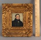 19thC Antique Miniature Folk Art Watercolor Portrait Painting of Ships Captain