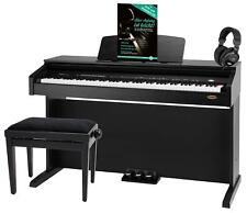 88 Tasten Digital E-Piano Keyboard Set Bank Kopfhörer Schule Schwarz Matt