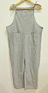 """Unbranded """"MissLOOK"""" Cotton Poly striped loose fit BOHO tie romper overalls M/10"""