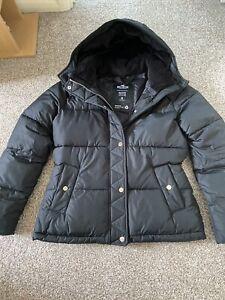 HOLLISTER BLACK LADIES WARM PADDED HOODED COAT SIZE M 10/12 RRP £100