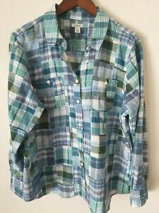 L.L. Bean Women's PETITE L Madras Plaid button Shirt Cotton Multicolor Patchwork