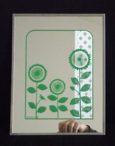 """Gloria Eriksen Sunflower Wall Mirror Mid Century Modern 10x13"""""""